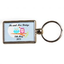 Double-Sided Owl Couple Keyring- Personalised Wedding Gift